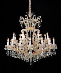 19 Light La Scala Chandelier Cognac Glass & Gold Finish