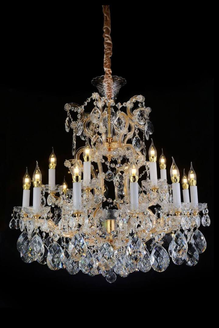 19 Light San Carlo Chandelier Clear Glass & Gold Finish