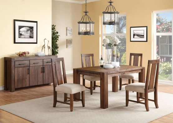 5 Piece Meadow Solid Wood Panel Back Chair Dining Set