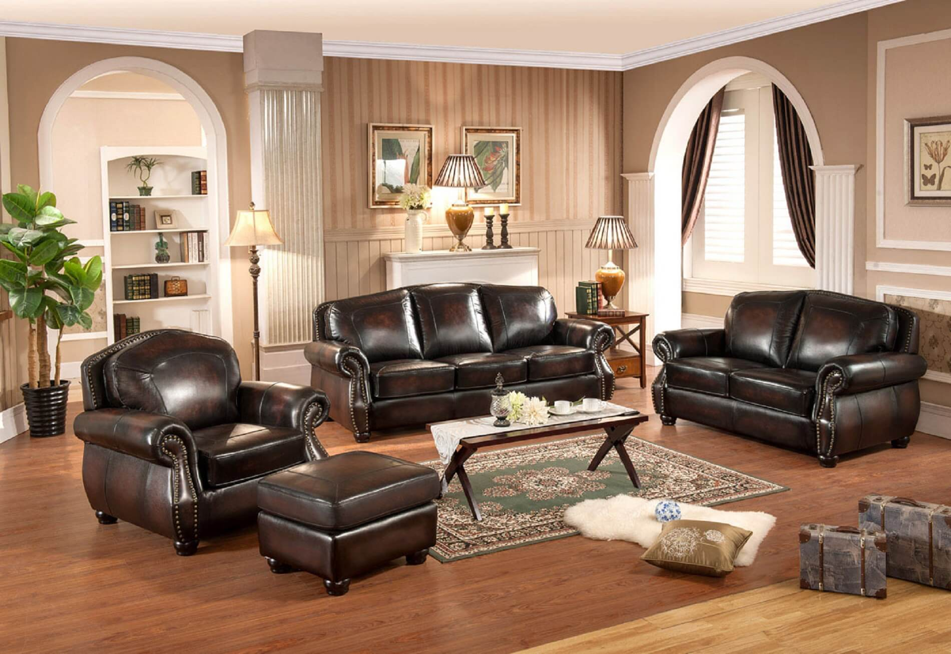 Excellent Hyde 100 Full Leather Sofa Brass Nailhead Trim Pabps2019 Chair Design Images Pabps2019Com