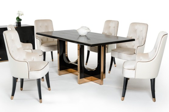 Modern A&X Black Crocodile and Rosegold Dining Table