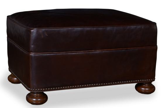 Kennedy Walnut Leather Ottoman