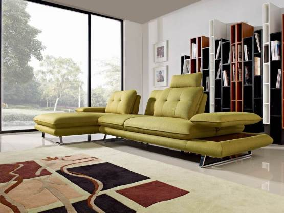 2 Piece Eva Adjustable Backrest Dijon Yellow Fabric Sectional