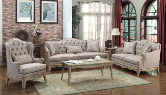3 Piece Ashden Polyester Fabric Sofa Set