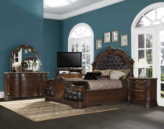 4 Piece Antoinetta Leather Tufted Bedroom Set