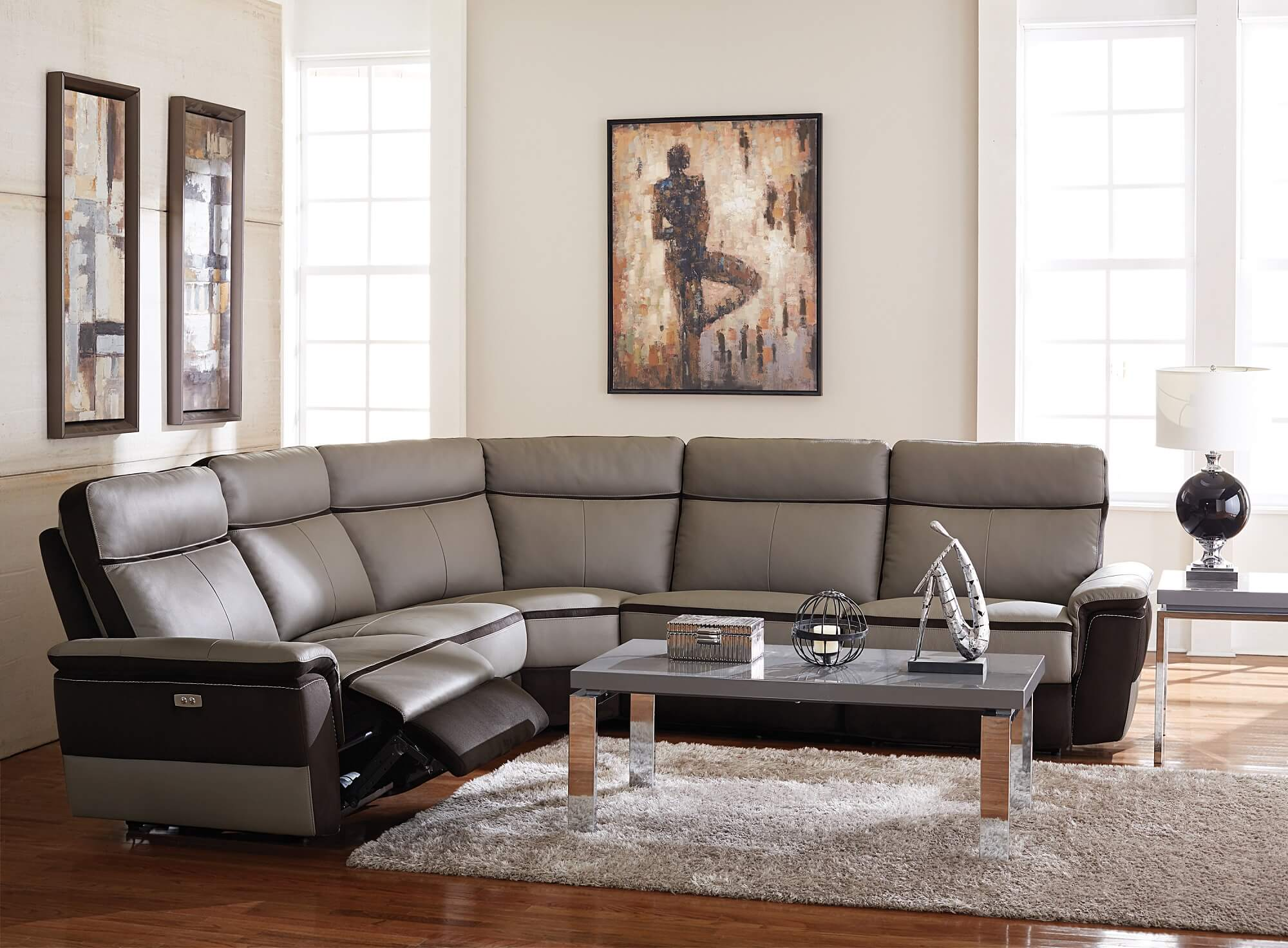 5 piece laertes top grain grey leather power reclining sectional set by homelegance