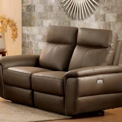 Push Button Recliner Chairs Baseball Mitt Chair Olympia Top Grain Raisin Leather Power Double Reclining Loveseat By Homelegance - Usa Furniture ...