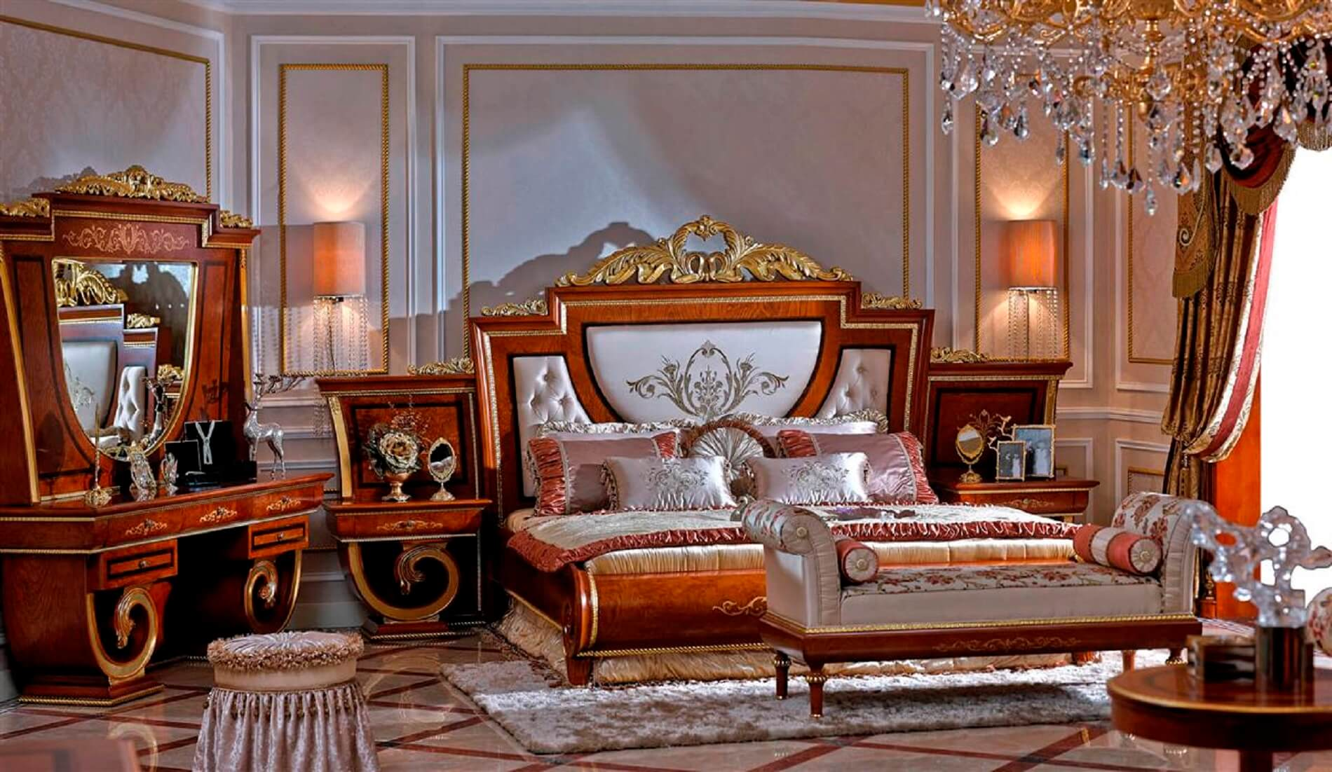 5 Piece Empire European Bedroom Set Luxury Series Usa Furniture Online