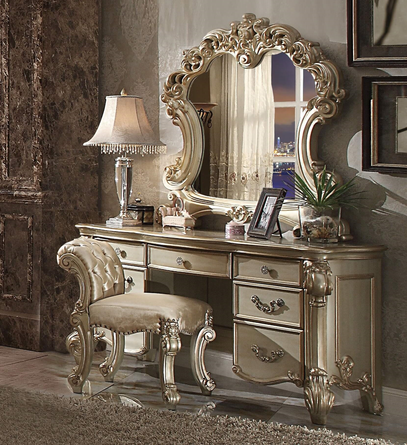 3 Piece Vendome Gold Patina Vanity Set With Stool By Acme 23007 Usa Furniture Online