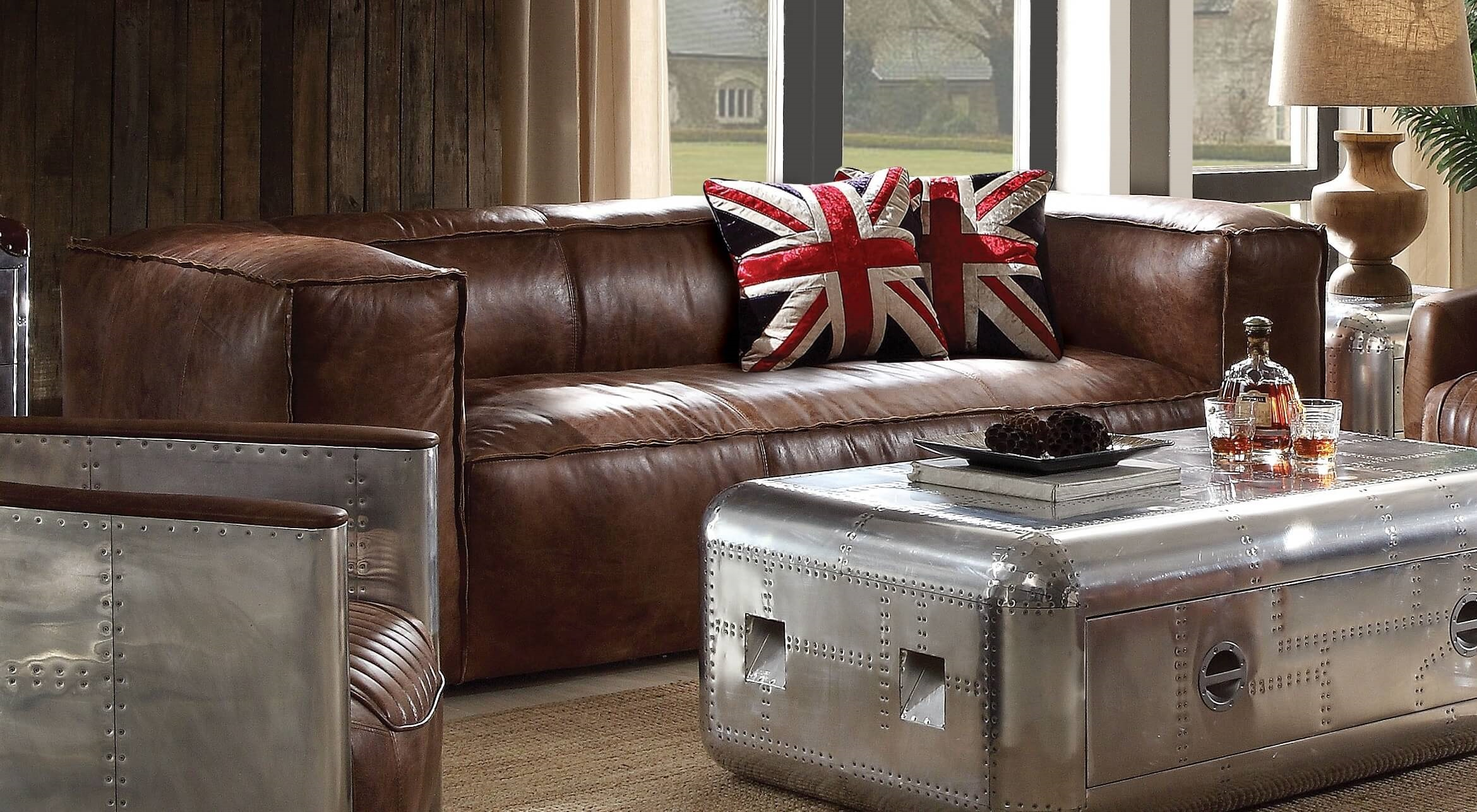 There are several different types of leather used in the making of furniture and the type used affects the look and feel of the piece. Brancaster Top Grain Leather With Aluminum Sofa ACME-53545 ...