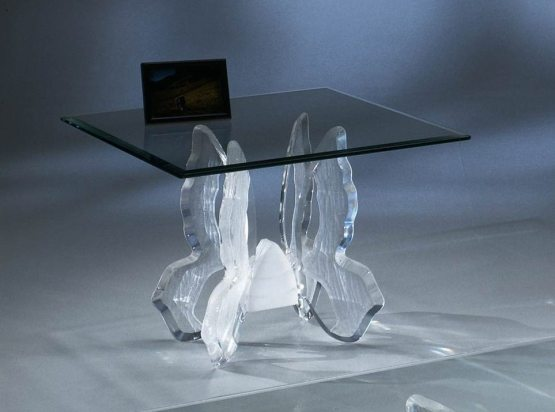 Clear Acrylic Butterfly II End Table