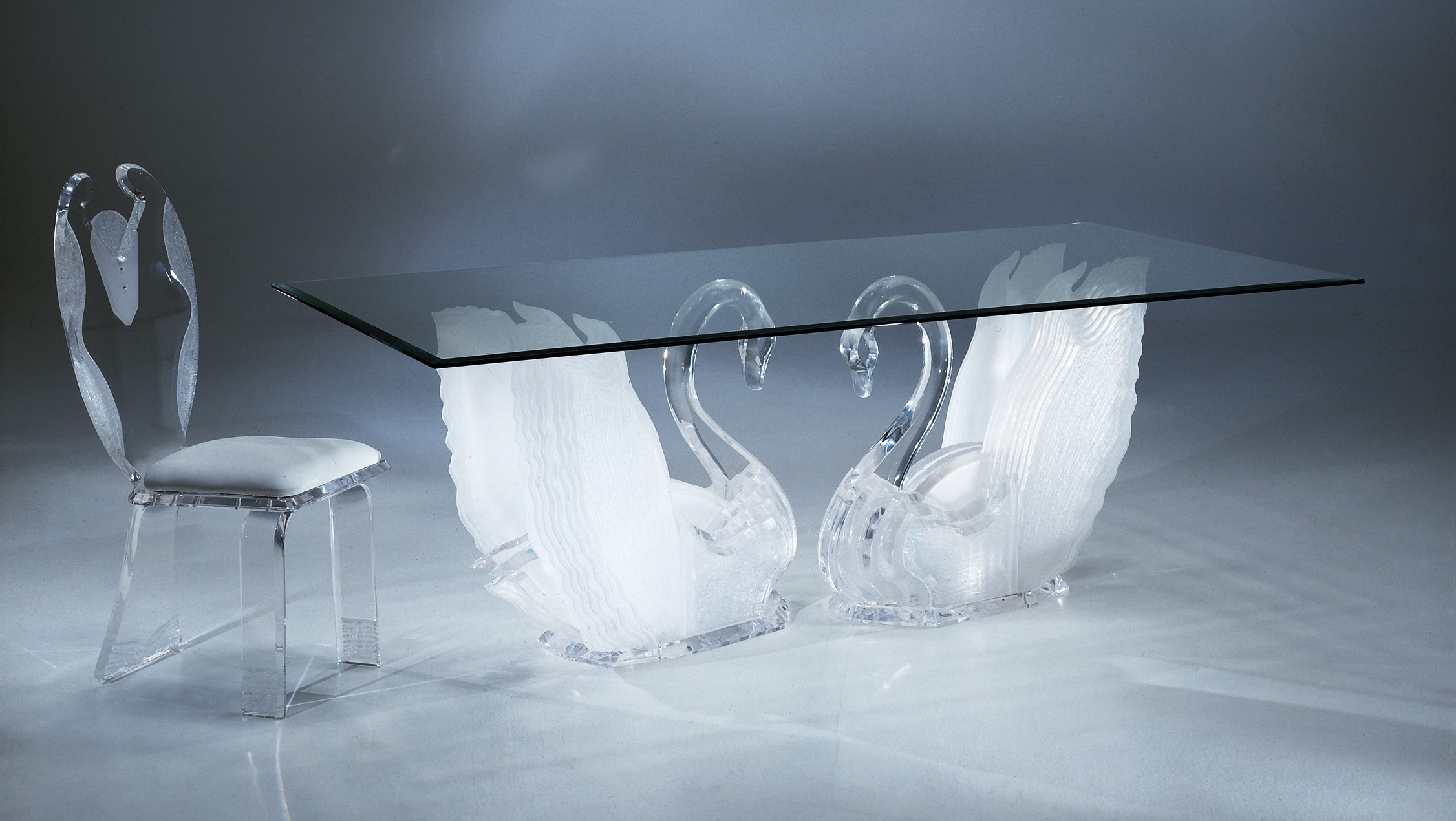 Clear Acrylic Legend Swan Rectangular Dining Table With ...