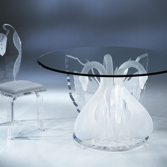 Clear Acrylic Legend Swan Round Dinette Table