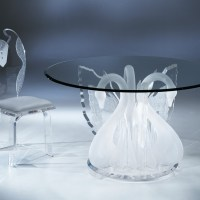 Clear Acrylic Legend Swan Round Dinette Table With Glass