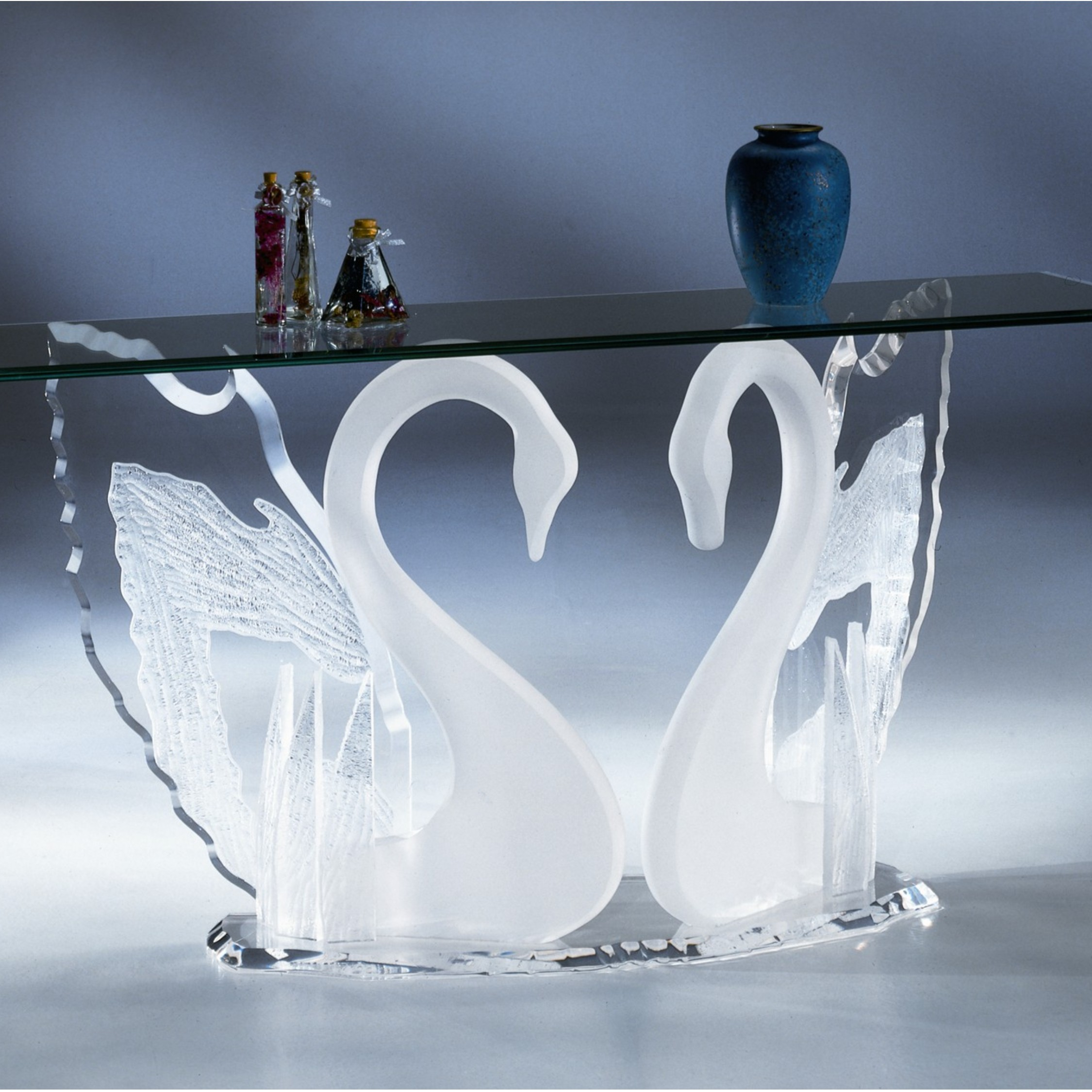Clear Amp Frosted Acrylic Legend Swan Sofa Table With Glass