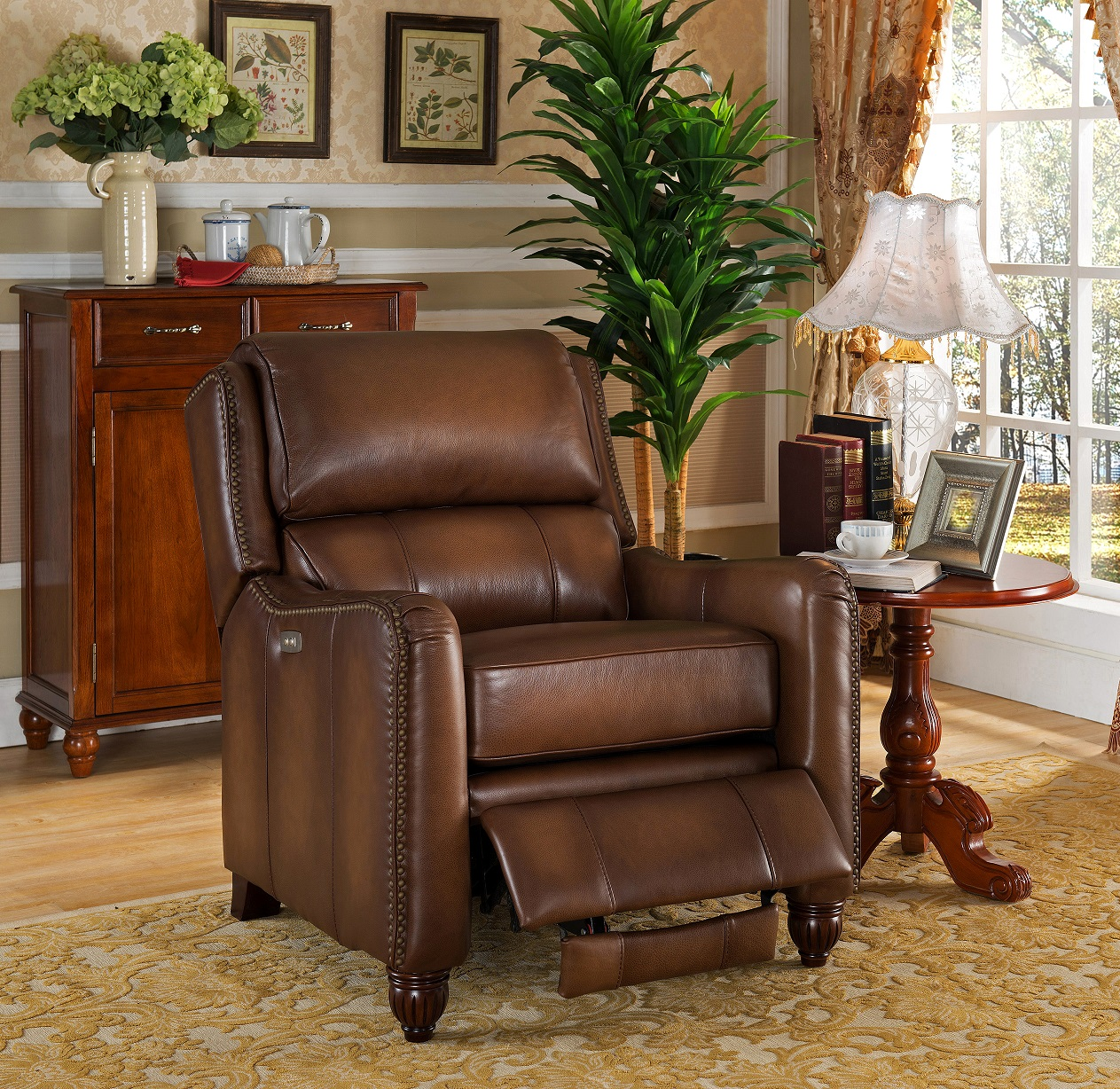 Brilliant Concord 100 Brown Leather Power Recliner Ocoug Best Dining Table And Chair Ideas Images Ocougorg
