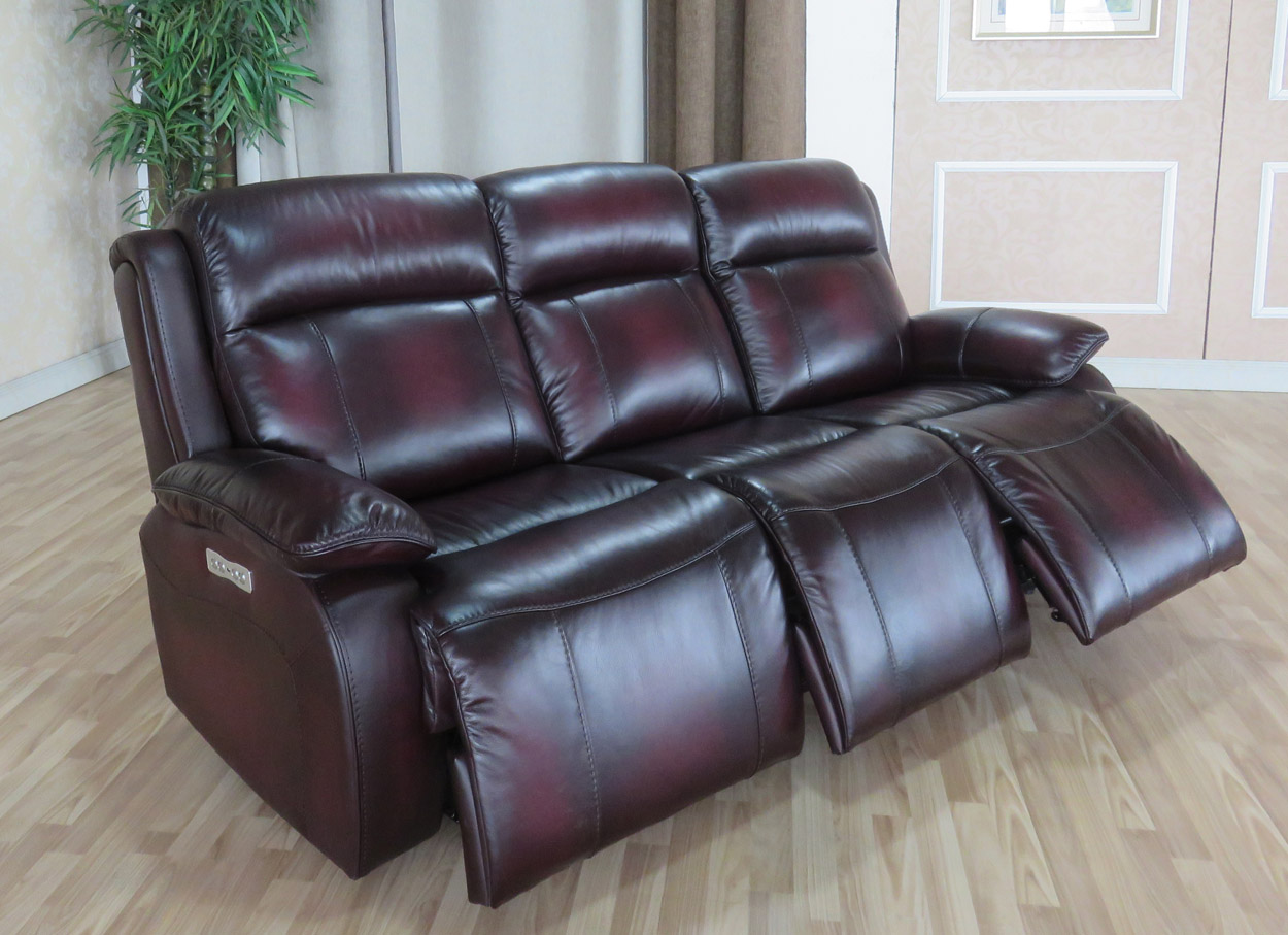 Faraday Two Tone Top Grain Leather Power 3 Reclining Sofa