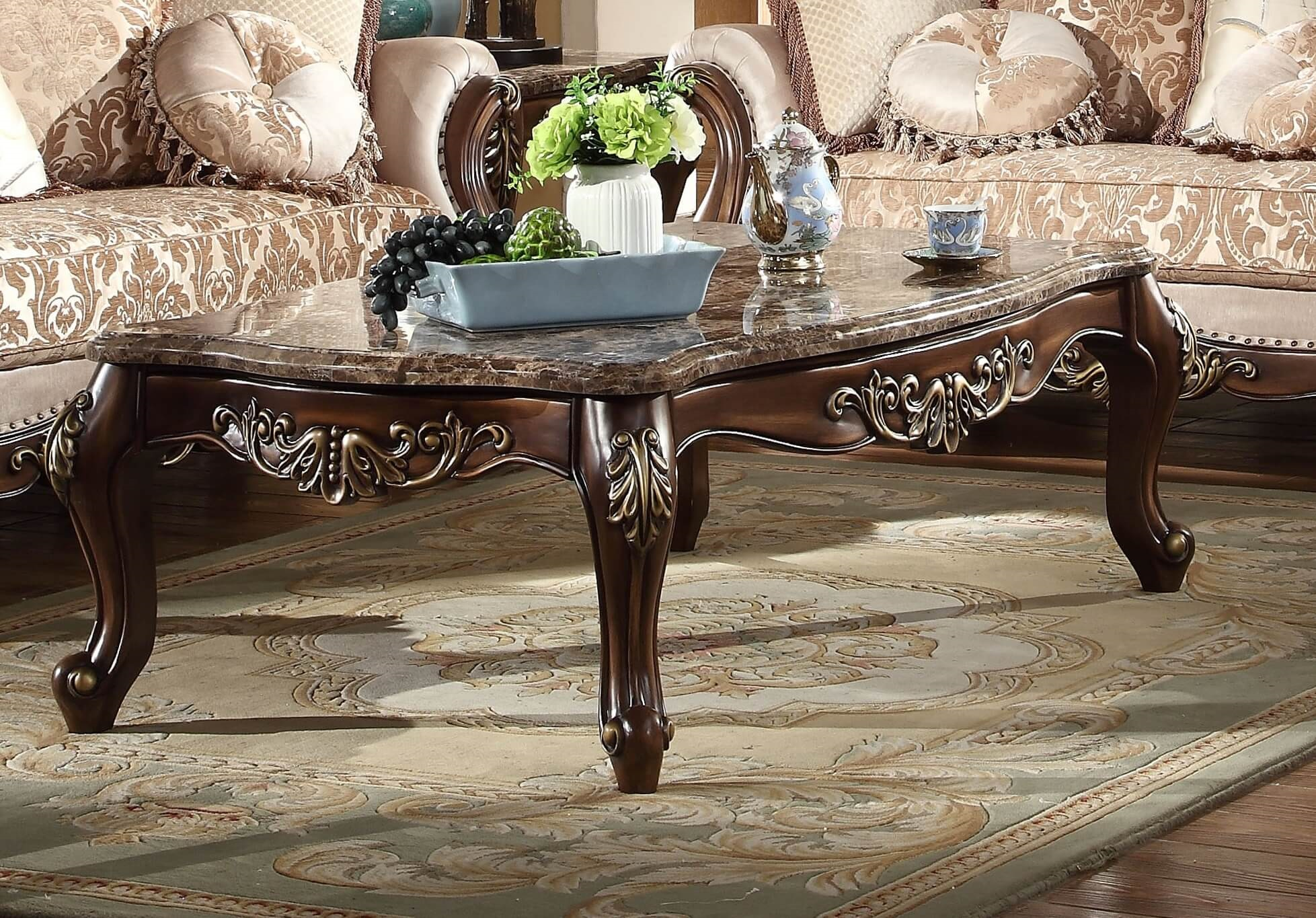 Renaissance Coffee Table With Genuine Marble Top Mcferran SF - Genuine marble coffee table