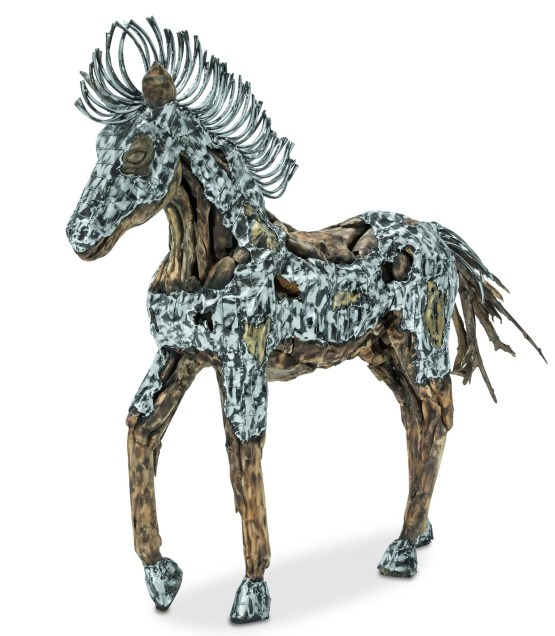 Trojan Wood Crafted Horse Silver & Gold Metal Body AICO