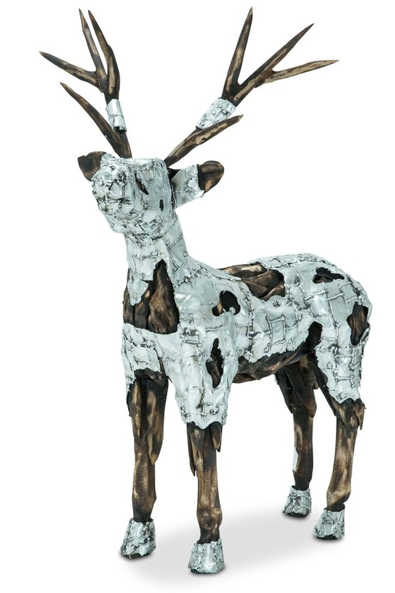 Wood Crafted Small Deer Metal Body Coat
