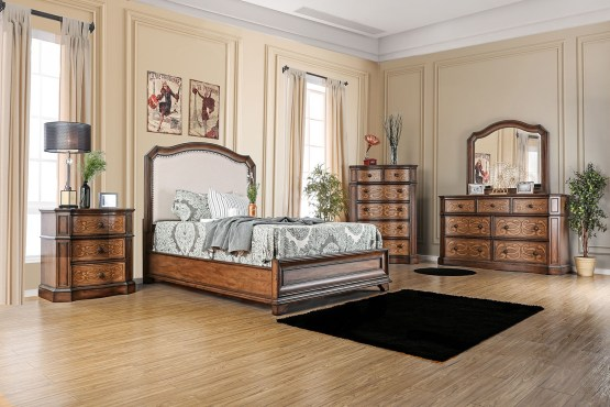 4 Piece Emmaline Upholstered Panel Bedroom Set
