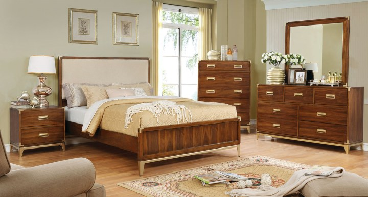 4 Piece Tychus Upholstered Panel Bedroom Set