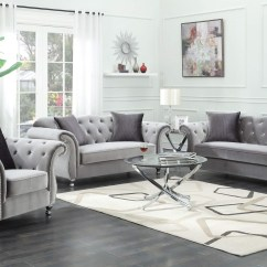 Glam Sofa Set Laramie And Loveseat Coaster Frostine Glamorous Silver Velvet 551162