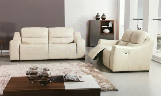Avana Light Gray Full Italian Leather Power Recliner Set