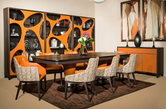 21 Cosmopolitan Orange Extendable Dining Set