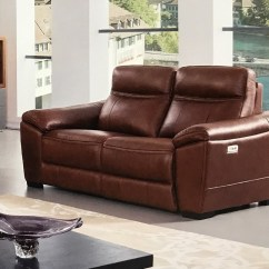 Power Reclining Sofa Made In Usa Narrow Corner Bed Forma Brown Italian Leather Loveseat