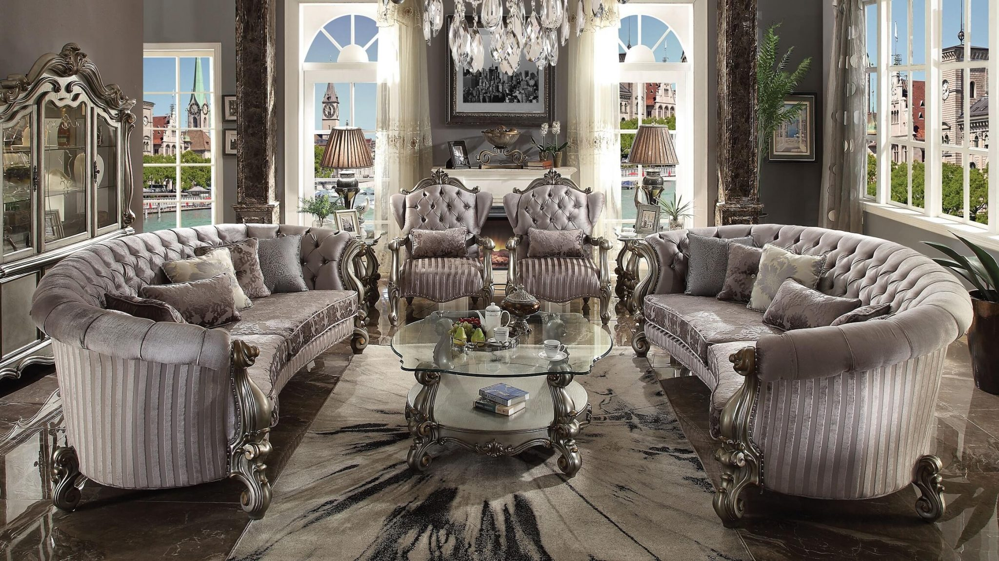 Excellent 4 Piece Versailles Antique Platinum Curved Sofa Accent Chair Creativecarmelina Interior Chair Design Creativecarmelinacom