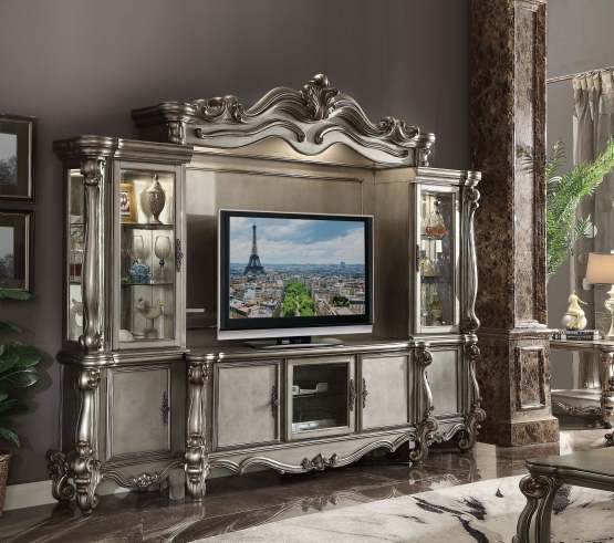 4 Piece Versailles Antique Platinum Entertainment Center