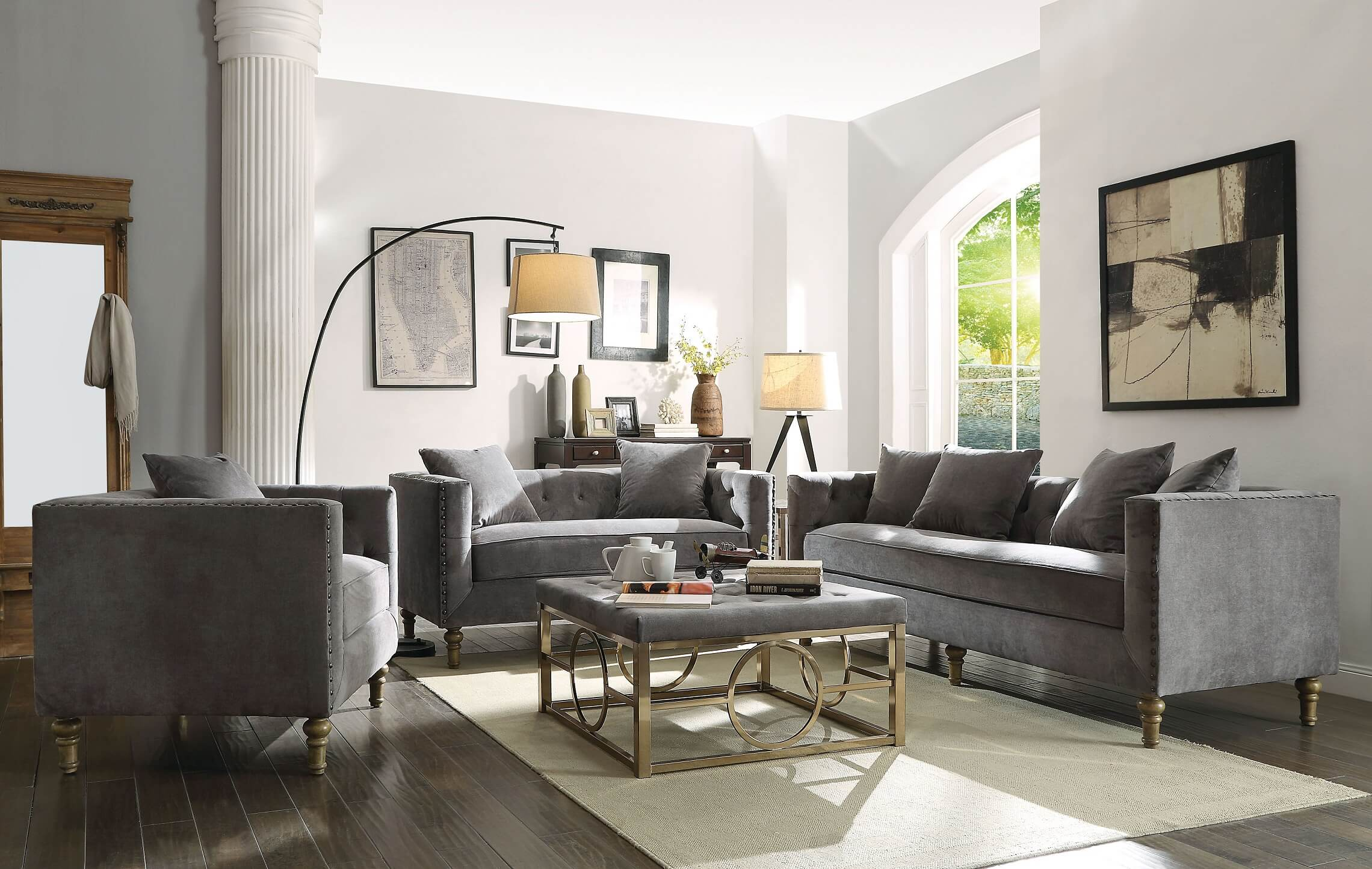 Sidonia Gray Velvet Fabric Sofa Set - USA Furniture Online