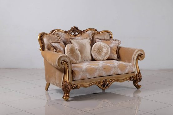 Cleopatra Wood Trim Loveseat