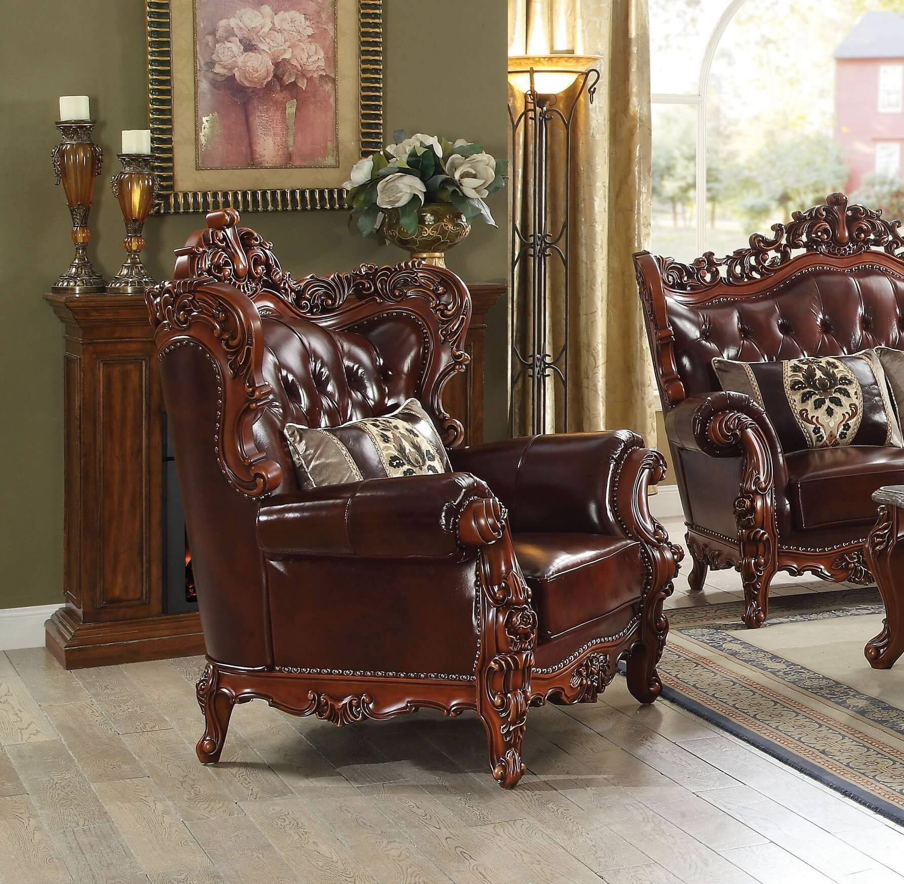 Acme Eustoma Leather Chair & Acme Eustoma Traditional Top Grain Leather Chair u2022 USA Furniture Online
