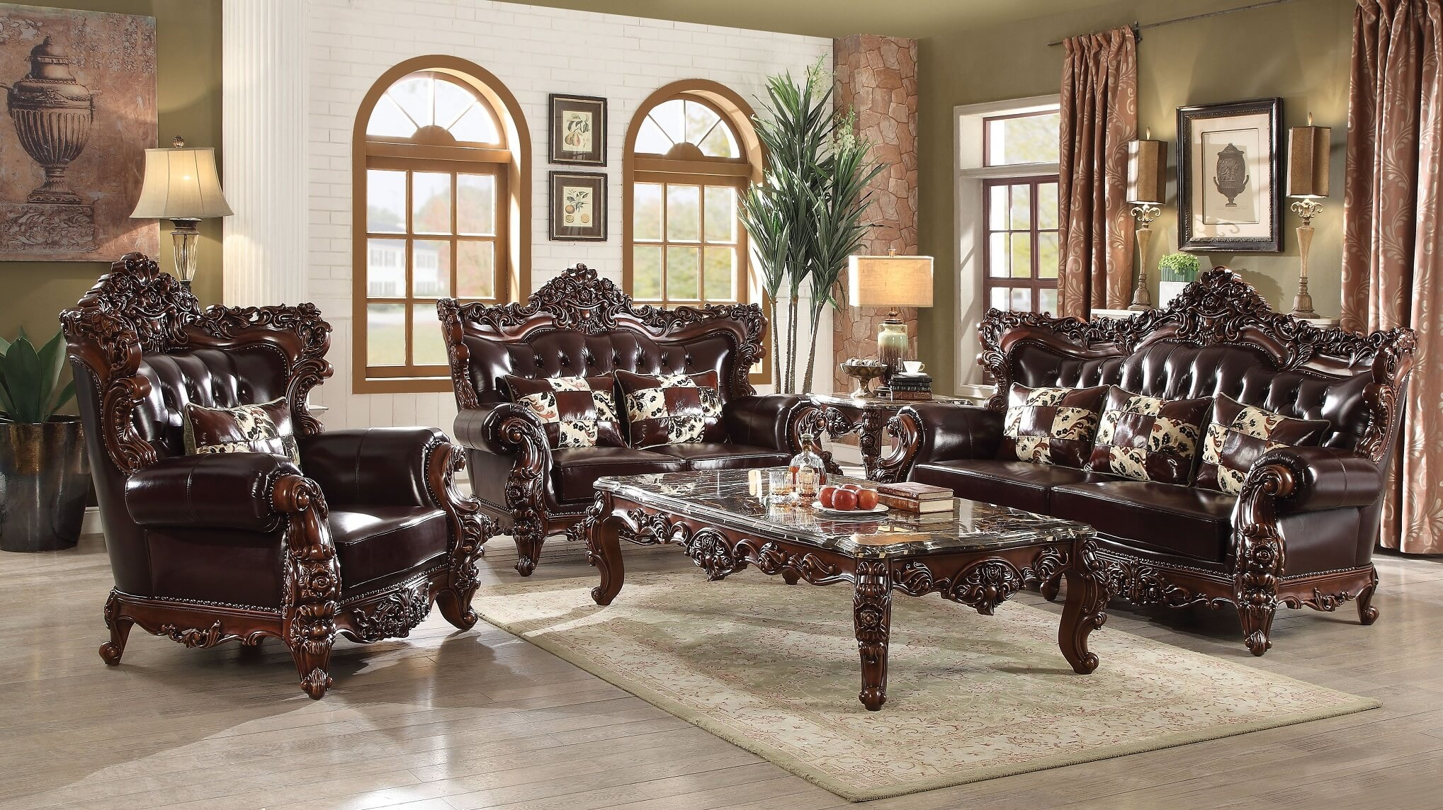 Acme Forsythia Traditional Top Grain Leather Living Room Set - USA ...