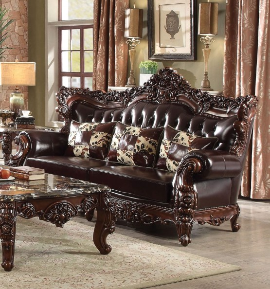 Acme Forsythia Traditional Leather Sofa