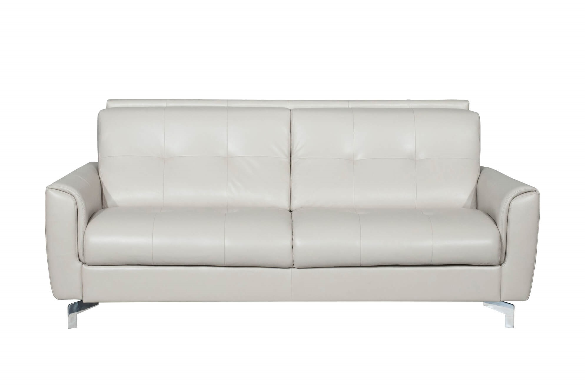 Benares Beige Italian Leather Sofa Bed - Made in Italy