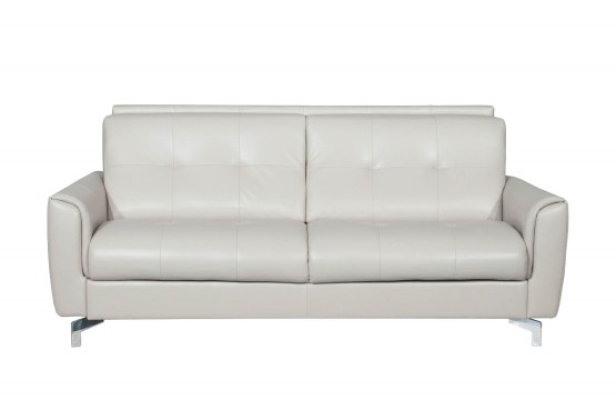 Benares Beige Italian Leather Sofa Bed