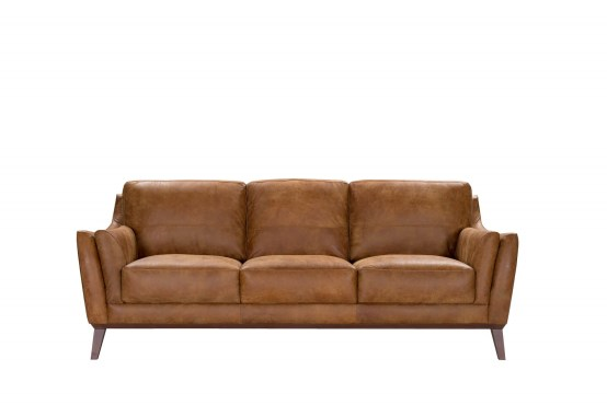 Dember Vintage Brown Italian Leather Sofa Made In Italy Usa