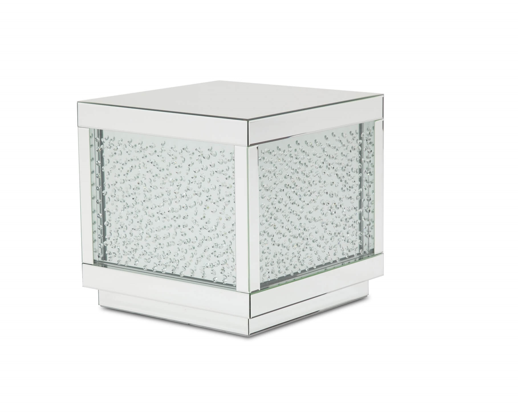Montreal Silver Mirrored Crystals End Table Fs Mntrl202h Usa Furniture Online