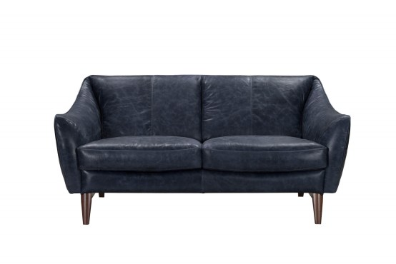 Yuma Blue Italian Leather Loveseat