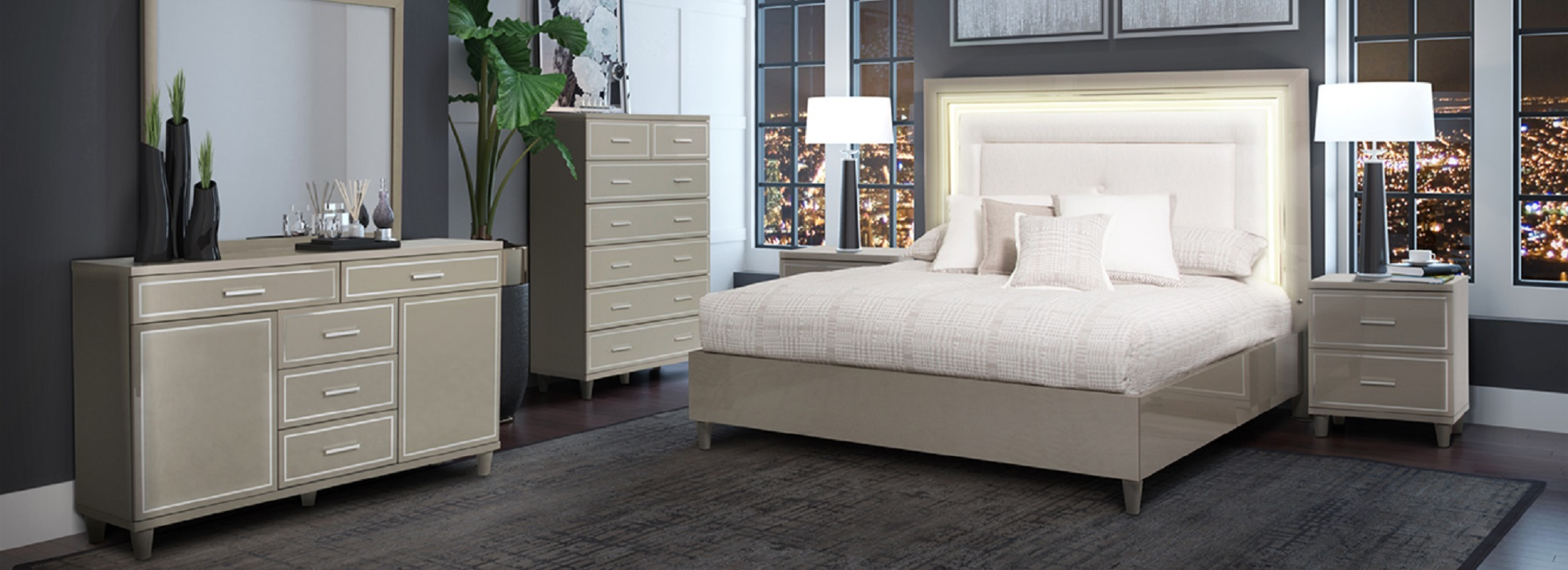 4 Piece Aico Urban Place Upholstered Bedroom Set