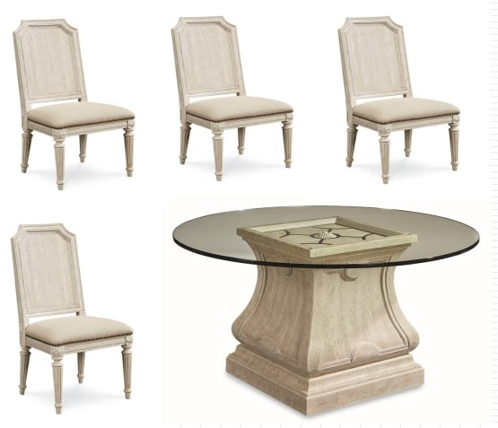 Arch Salvage Glass Top Dining Set