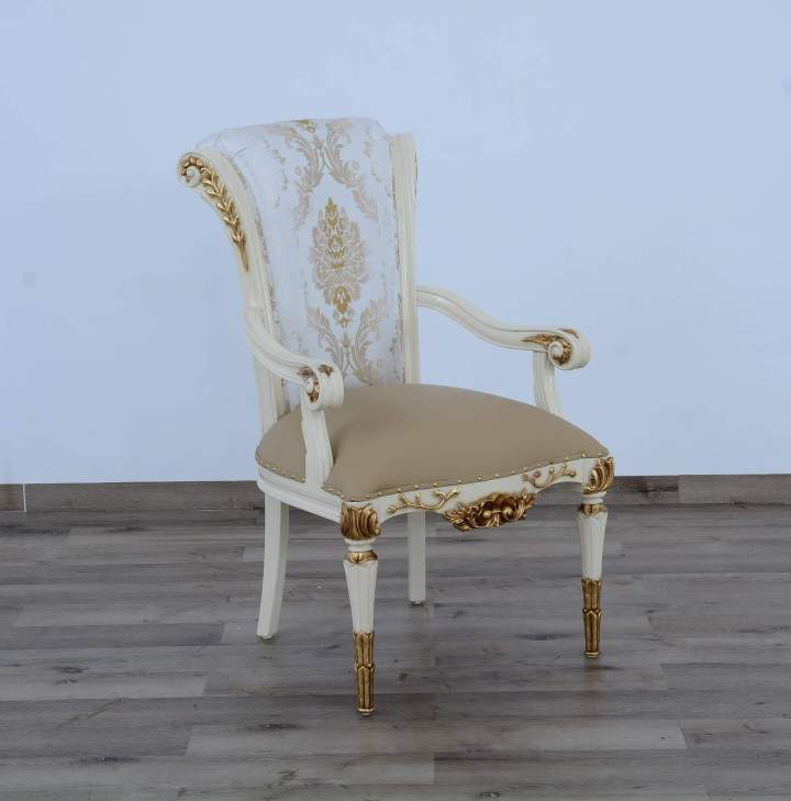 Valentina Beige-Gold Leaf Dining Arm Chair