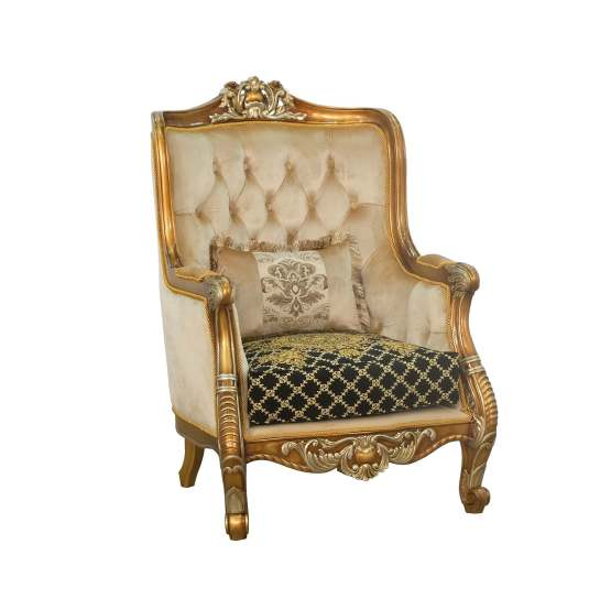 Luxor II Wood Trim Armchair Black Gold Fabric
