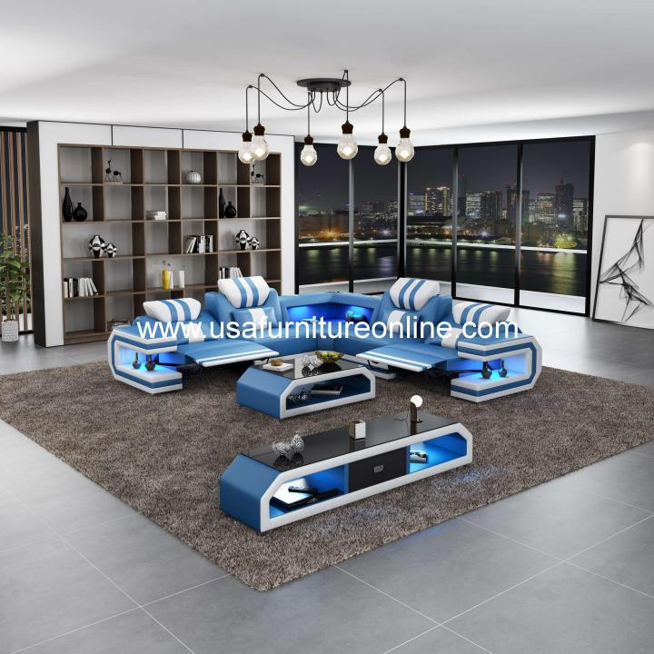 Lightsaber LED Sectional Dual Recliners Italian Leather Blue & White