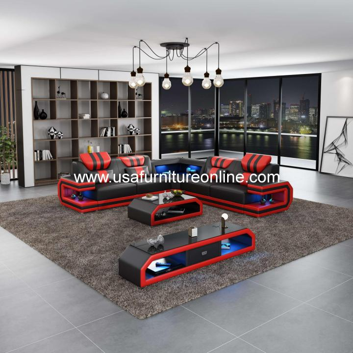 Lightsaber LED Sectional Italian Leather Black & Red
