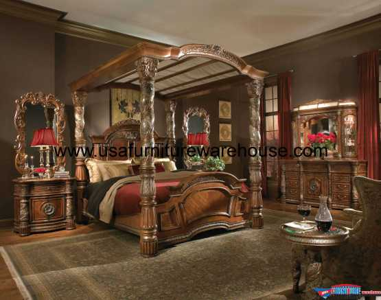 AICO Villa Valencia Canopy Bedroom Set