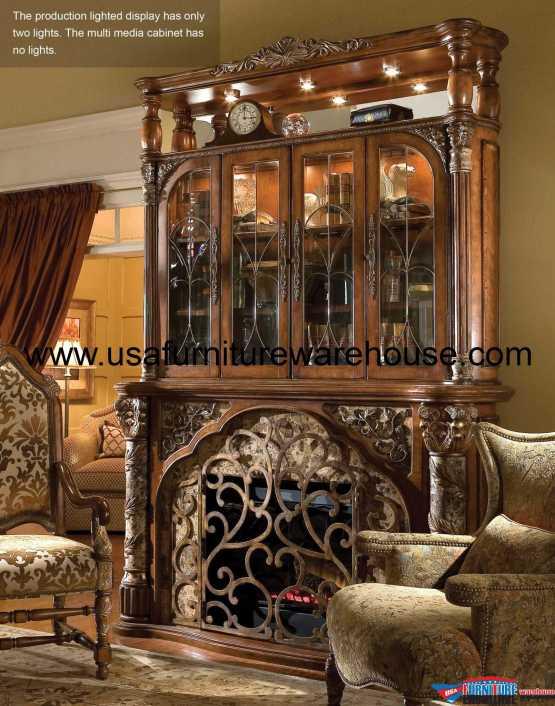 Villa Valencia 4 Pc Fireplace with Media Wall Set